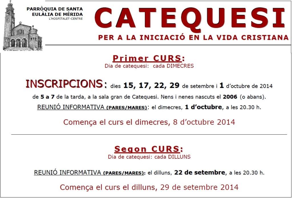 2014-15 Cartell inscripcions i començament catequesi